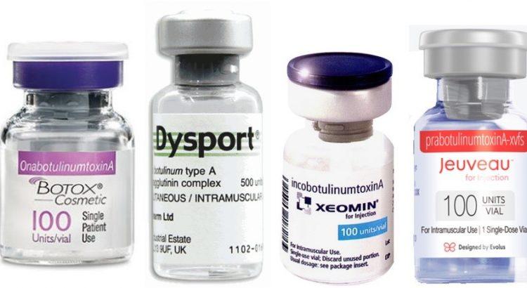 Botox Dysport Xeomin Jeuveau bottles for injection